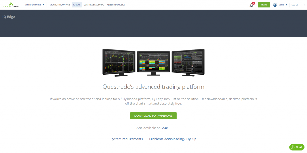 Questrade Review 2018 - IQ Edge Installation
