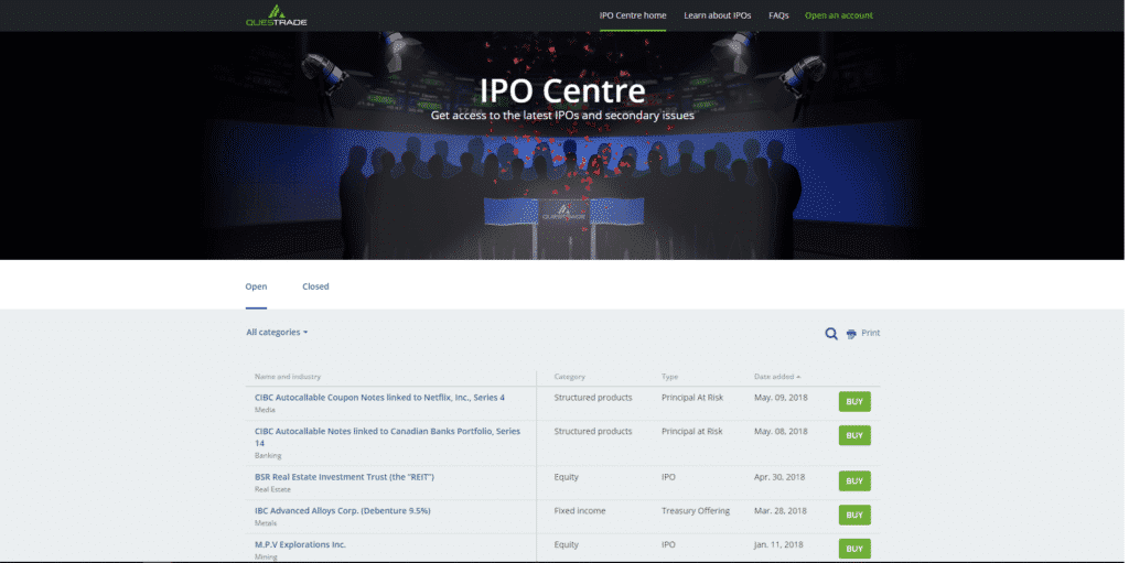 Review Of Questrades IPO Centre