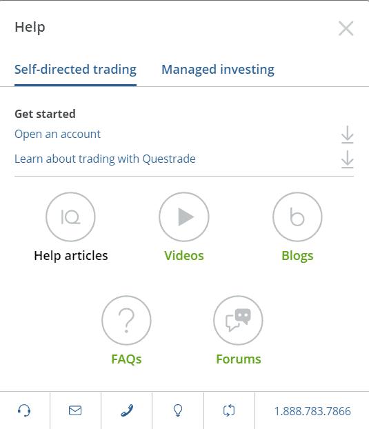 Questrade Help Features