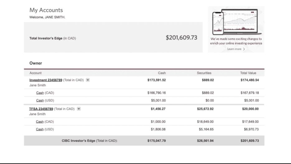 CIBC Investors Edge Account Information