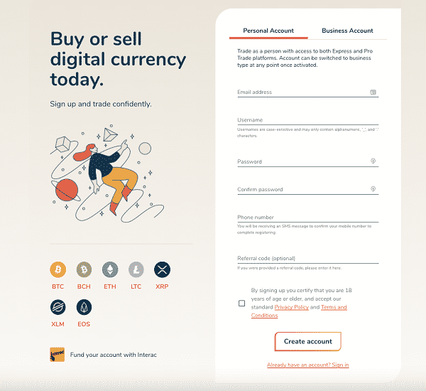 Bitbuy signup process