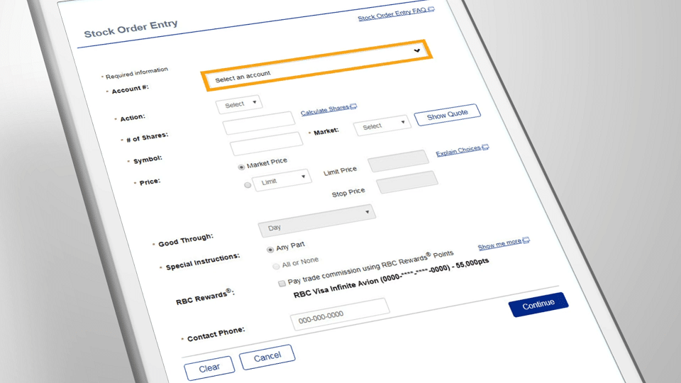 RBC Direct Investing Mobile View